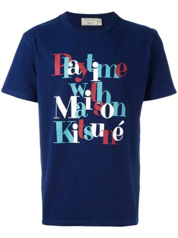 Maison Kitsuné - Printed Text T-shirt - Men - Cotton - Xxl, Blue, Cotton