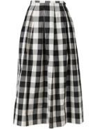 Rochas Long Checked Skirt