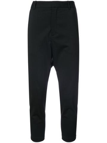 Nili Lotan - Cropped Drop-crotch Tailored Trousers - Women - Spandex/elastane/wool - 2, Blue, Spandex/elastane/wool