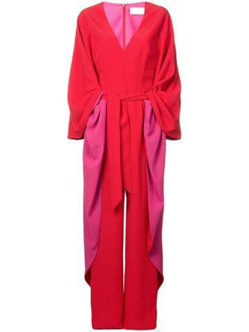 Sara Battaglia Panelled Jumpsuit - Red