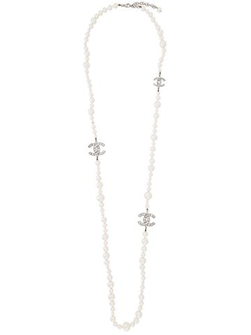 Chanel Vintage Faux Pearls Long Necklace - White