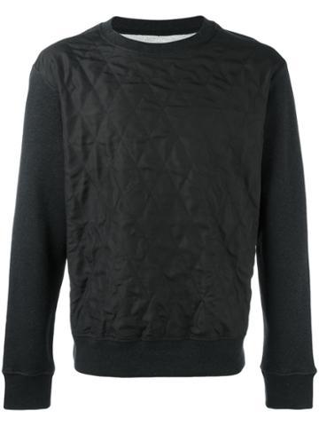 Maison Margiela Silk Quilted Panel Sweatshirt, Men's, Size: 50, Black, Cotton/silk/polypropylene