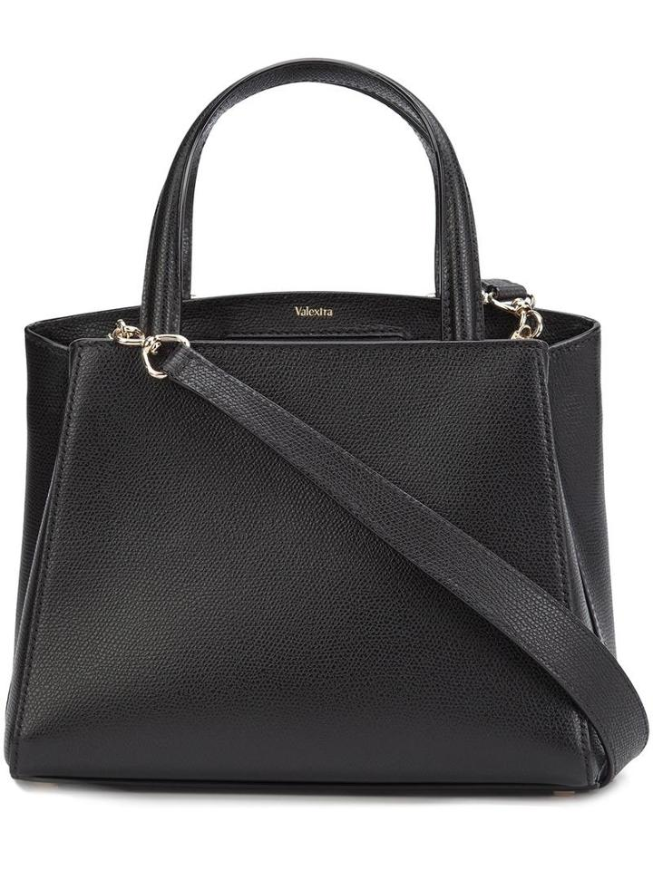 Valextra Classic Tote, Women's, Black, Leather