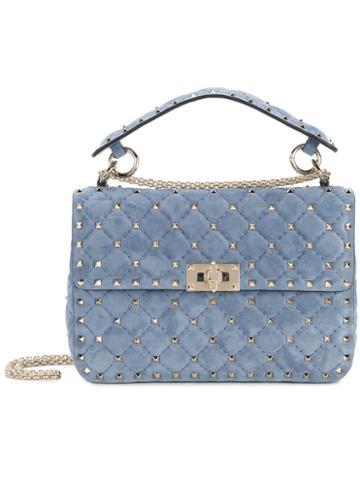 Valentino - Valentino Garavani Rockstud Spike Crossbody Bag - Women - Suede/metal/leather - One Size, Blue, Suede/metal/leather