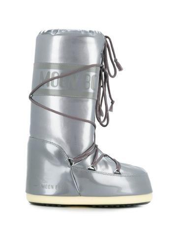 Moon Boot Chunky Logo-strap Boots - Silver