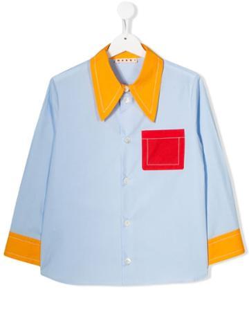 Marni Kids Teen Colour Block Shirt - Blue