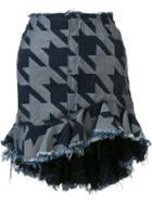 Marques'almeida Houndstooth Ruffled Skirt