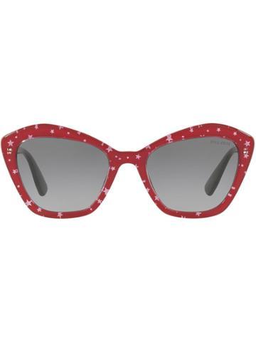Miu Miu Miu Miu Logo Sunglasses - Red