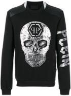 Philipp Plein Metallic Skull Print Sweatshirt - Black