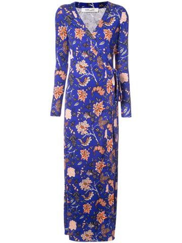 Dvf Diane Von Furstenberg Floral Evening Wrap Dress - Blue