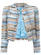Isabel Sanchis Tweed-embroidered Cropped Jacket - Blue