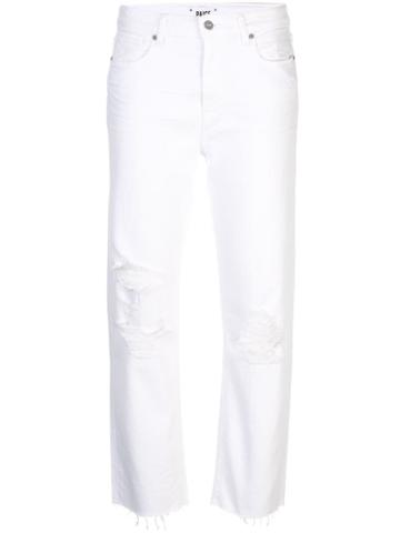 Paige Distressed Straight-leg Jeans - White
