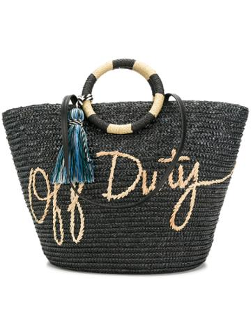 Rebecca Minkoff Tassel Woven Shopper Bag - Black