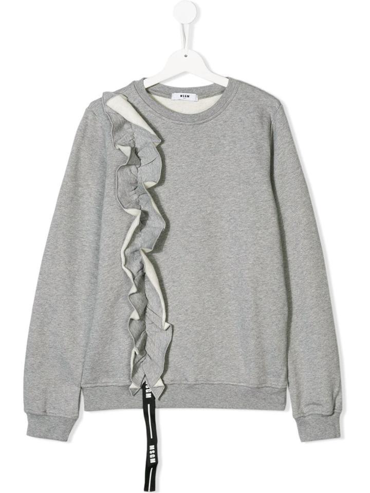 Msgm Kids Teen Ruffle Trim Sweatshirt - Grey