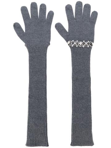 Nº21 Sequinned Ribbed Gloves - Grey