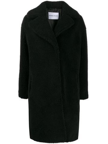 Stand Shearling Coat - Black
