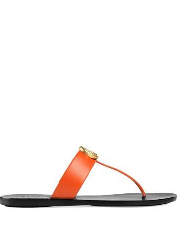 Gucci Marmont Gg Thong Sandals - Orange