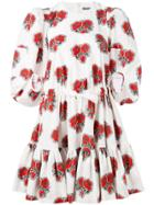 Alexander Mcqueen Floral Ruffled Dress - White