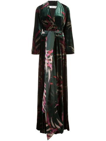 Dvf Diane Von Furstenberg Leaf Print Wrap Dress - Green
