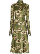 Etro Leicester Floral-print Midi Dress - Green