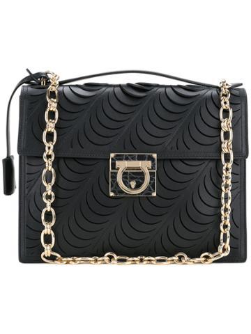 Salvatore Ferragamo - Laser-cut Medium Flap Bag - Women - Calf Leather - One Size, Black, Calf Leather