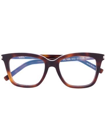 Saint Laurent - Square-frame Glasses - Unisex - Acetate - One Size, Brown, Acetate