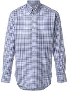 Canali Checked Buttondown Shirt - Blue