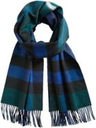 Burberry Cashmere Reversible Check Scarf - Blue