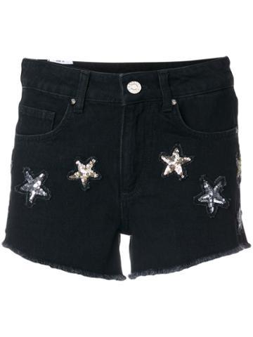 Zoe Karssen - Star Embellished Shorts - Women - Cotton - 26, Black, Cotton