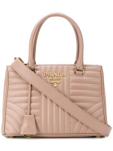 Prada Quilted Logo Tote Bag - Pink & Purple