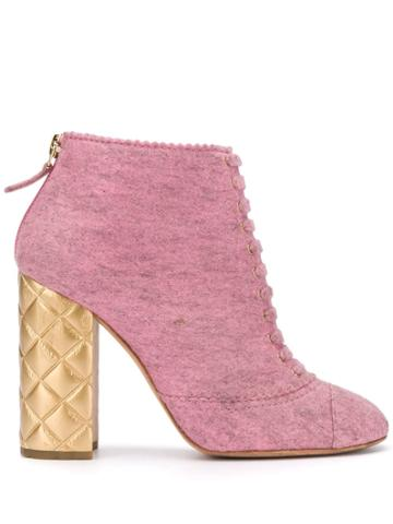 Chanel Vintage 2000's Quilted Heel Ankle Boots - Pink