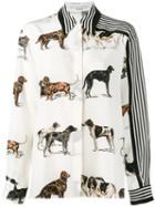 Stella Mccartney Dog And Stripe Print Shirt, Women's, Size: 38, Nude/neutrals, Silk