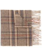 Gieves & Hawkes Plaid Fringed Scarf - Brown