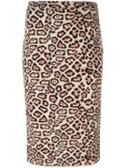Givenchy Leopard Print Pencil Skirt, Women's, Size: S, Black, Viscose