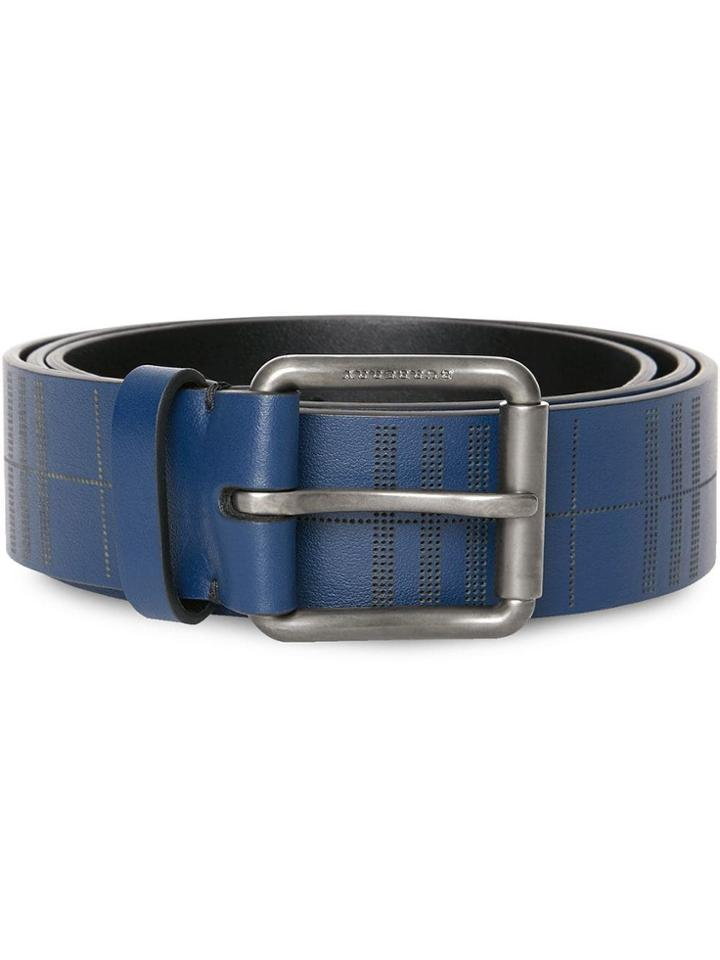 Burberry Perforated Check Leather Belt - Blue