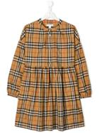 Burberry Kids Teen Vintage Check Gathered Dress - Nude & Neutrals