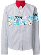 Prada Striped Appliqué Shirt - Grey