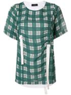 Joseph Ruched Checked Top - Green