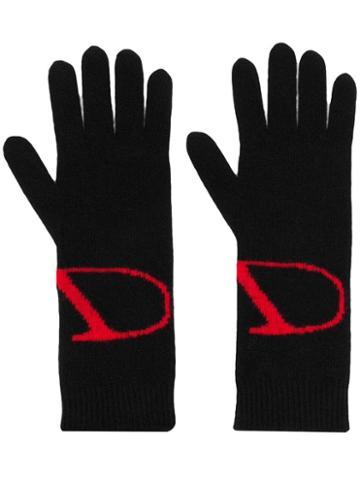 Valentino Valentino Garavani Knitted Vlogo Gloves - Black