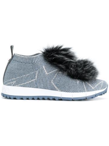 Jimmy Choo Norway Fox Fur Pom Pom Sneakers - Blue