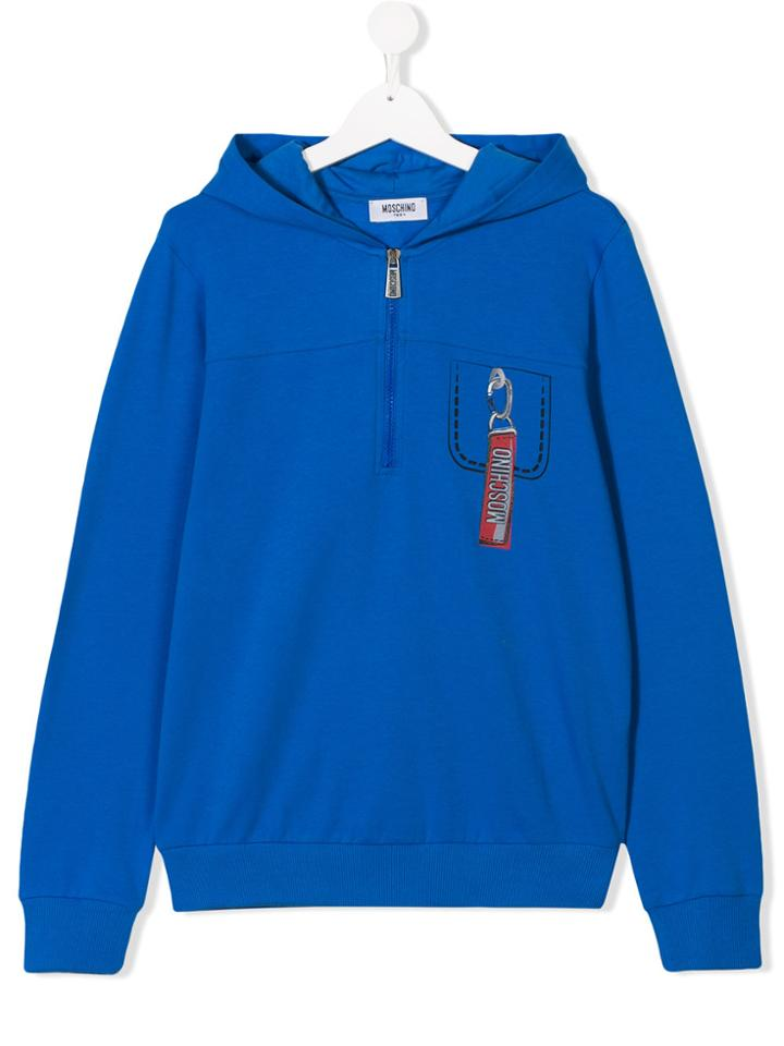 Moschino Kids Teen Pocket Print Hoodie - Blue