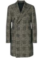 Tagliatore Houndstooth Coat - Black