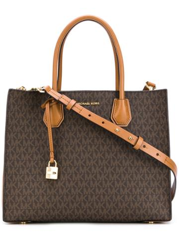Michael Michael Kors - Monogram Print Tote - Women - Leather - One Size, Brown, Leather