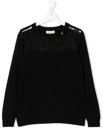 Twin-set Lace Detail Jumper - Black