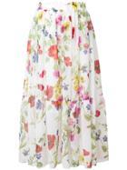 Blugirl Floral Print Skirt - White