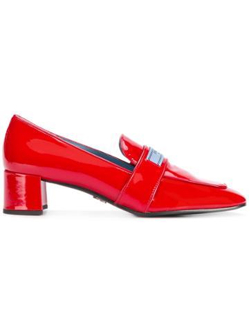 Prada Logo Patch Block Heel Loafers - Red