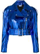 Faith Connexion Cropped Biker Jacket - Blue