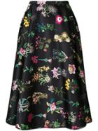 No21 Floral Print Midi Skirt - Black