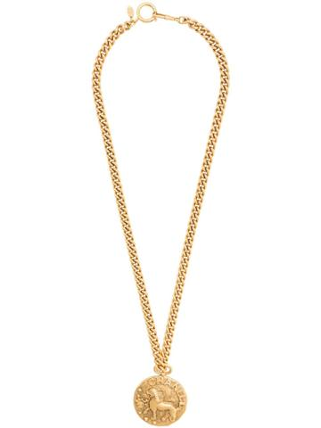 Chanel Pre-owned Lion Medallion Chain Necklace - Metallic