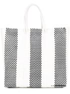 Truss Nyc - Striped Woven Tote Bag - Women - Plastic/straw - One Size, White, Plastic/straw